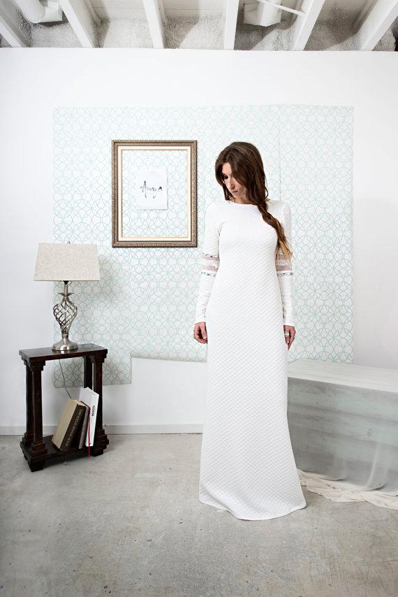 a072591969ff Orana / Tribal Boho Column Wedding Dress with Long Sleeves Open Back and  Back slit