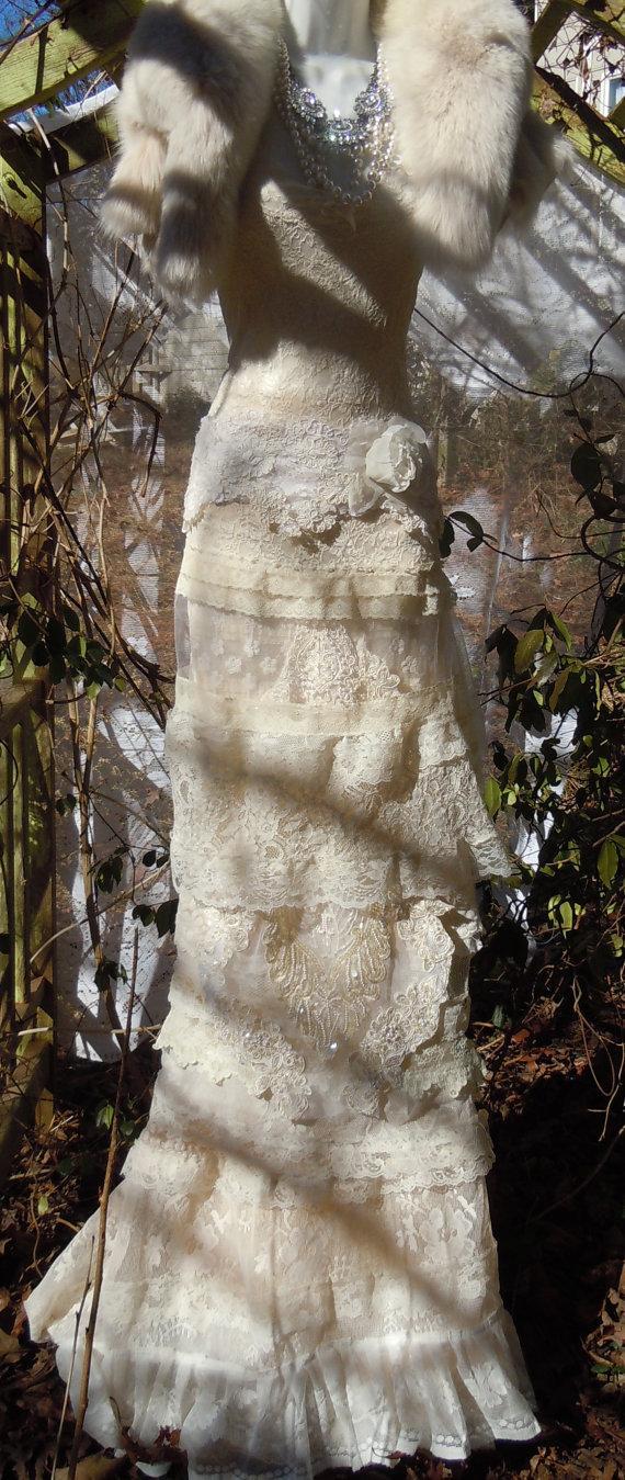 Wedding - Flapper Wedding Dress ivory  lace beading mermaid   vintage bride outdoor  romantic small medium  by vintage opulence on Etsy