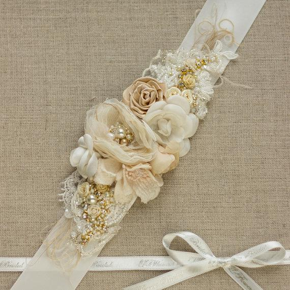 Shabby Wedding Bridal Belt Sash Wedding Dress Belt 2214138