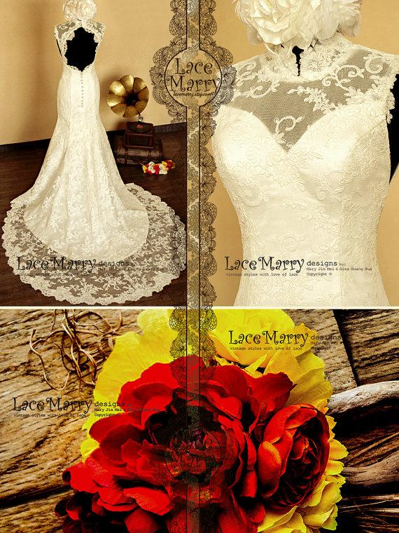 Wedding - High Collar Design Lace Wedding Dress features Sweetheart Neckline and Keyhole Open Back with Scalloped Edges