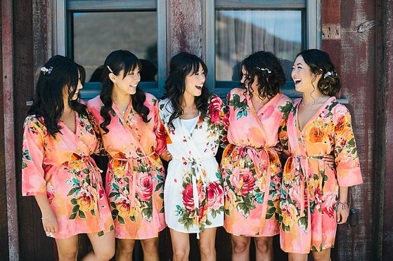 Coral Bridesmaids Robe Sets Kimono Crossover Robe. Bridesmaids gifts. Getting  ready robes. Bridal Party Robes. Floral Robes. Dressing Gown 646cf16e9