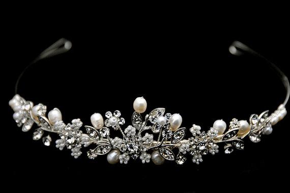 Mariage - Vintage Inspired, Bridal Headband, Freshwater Pearl, Rhinestone Bridal Headband, Crystal Wedding Headband, Wedding Bridal Hair Accessories