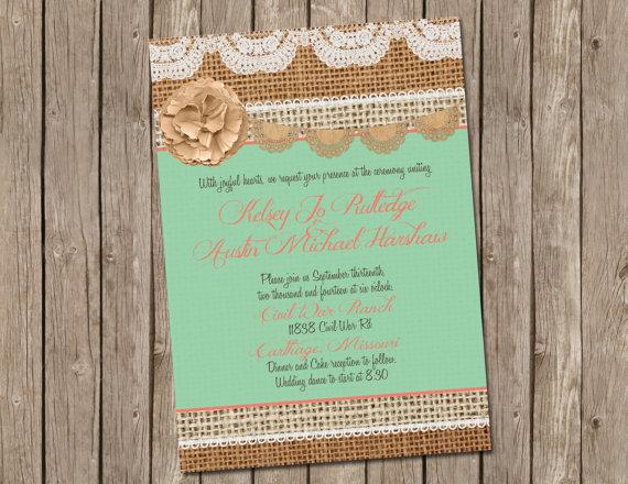 mint and coral burlap wedding invitation bridal shower digital file printable