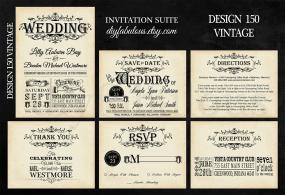 Design 150 Vintage Wedding Invitation Shabby Chic Antique Printable Diy