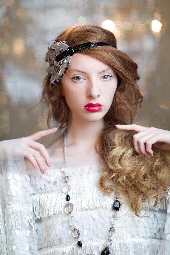 Wedding - Black Great Gatsby Headband, 1920's Flapper Headpiece, Vintage Inspired Wedding Hair Accessories, 1930s, Black Beaded Feather Headband