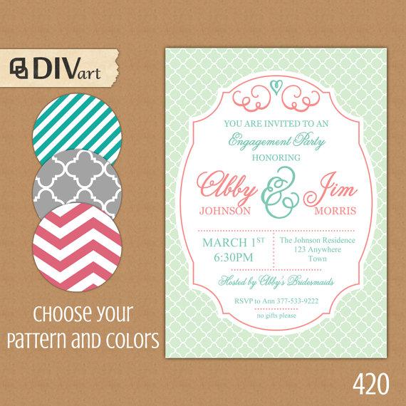 "Mariage - PRINTABLE 5x7"" Engagement Party Invitation, Bridal Shower Invitation, Baby Shower Invite - aqua, mint and coral - quatrefoil - 420"