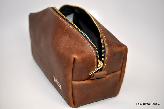 Groomsmen Accessories Personalized Leather Dopp Kit Gifts