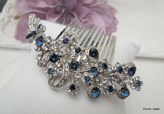 Wedding - Blue Swarovski Crystal and Pearl Wedding Comb,Wedding Hair Accessories,Vintage Style Flower and Leaf Rhinestone Bridal Hair Comb,Pearl,MARCY