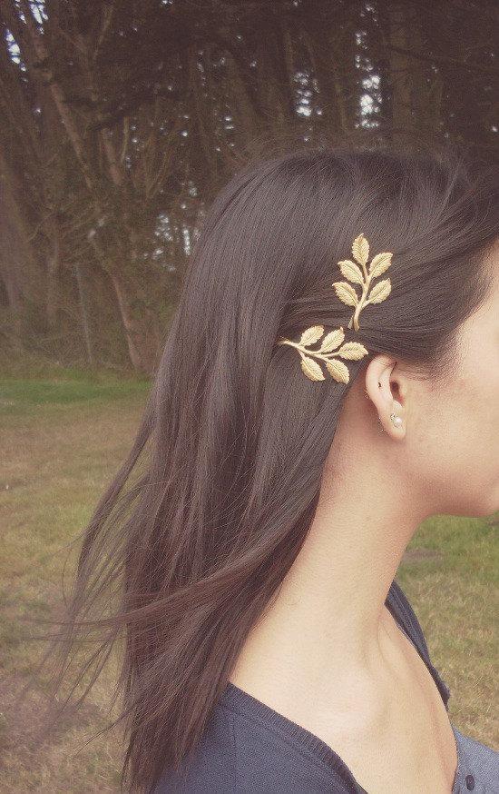 زفاف - Gold Leaf Branch Bobby Pins - Bridal Hair Pins Bridal Hair Clips Rustic Woodland Wedding Bridal Hair Accessories Grecian Hair Autumn Fall