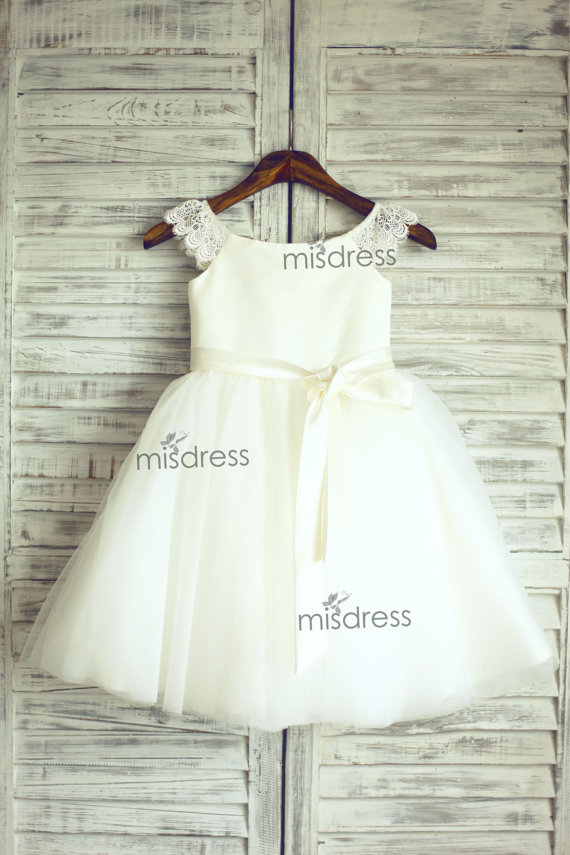 daee7742a Lace Tulle Cap Sleeves TUTU Flower Girl Dress Wedding Easter Junior  Bridesmaid Baptism Baby Infant Children Toddler Kids Dress