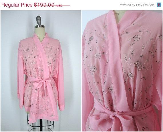 Mariage - 20% OFF SALE - Kimono / Silk Kimono Robe / Kimono Cardigan / Kimono Jacket / Wedding lingerie / Vintage Sari / Art Deco / Downton Abbey / Pi
