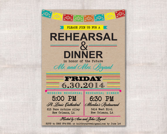 Mariage - Fiesta Wedding Rehearsal Dinner invitation custom printable 5x7