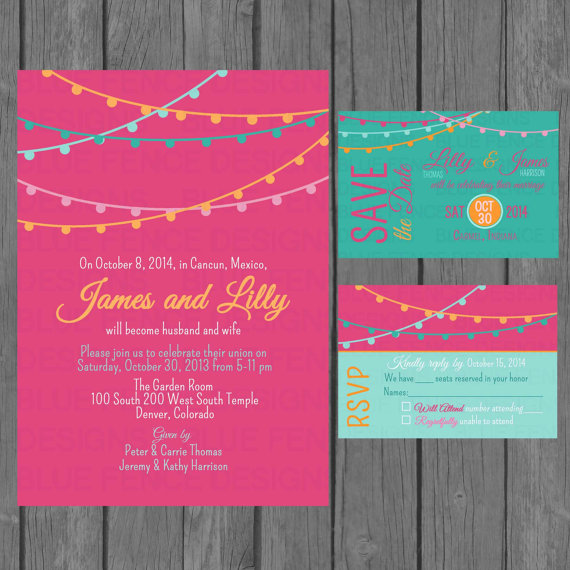 Mariage - Simple wedding invitation suite , modern, colorful wedding invitation, non traditional, strings of lights, reception only invite, digital