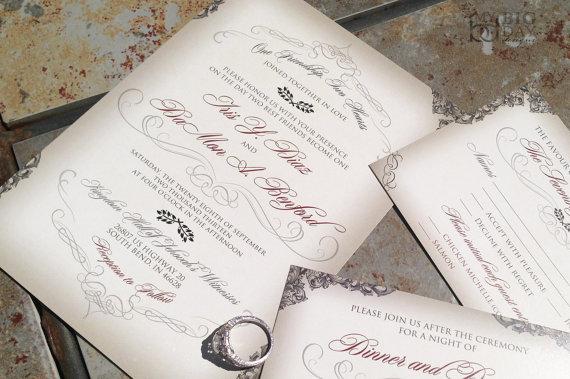 elegant script wedding invitation with victorian filigree
