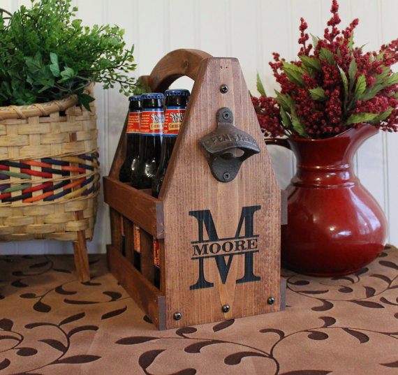 Wooden Beer Tote Personalized Beer Tote Handmade Beer Tote Wood Beer