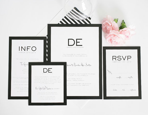 Mariage - Wedding Invitation - Black and White, Modern, Unique, Bold - Modern Luxe Wedding Invitation by Shine Invitations