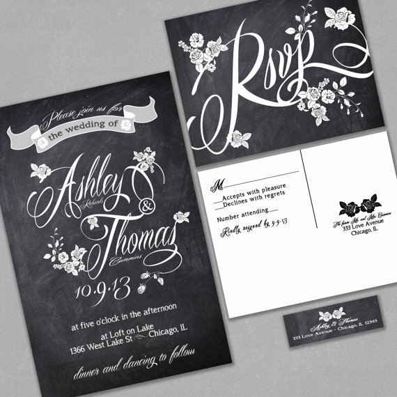 chalkboard wedding invitation custom typography and roses black