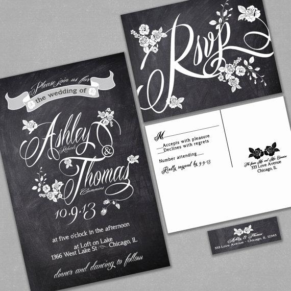 Chalkboard Wedding Invitation Custom Typography And Roses Black