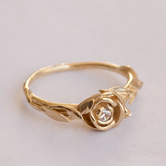 Mariage - Rose Engagement Ring No.2 - 14K Gold and Diamond engagement ring, engagement ring, leaf ring, flower ring, art nouveau, vintage