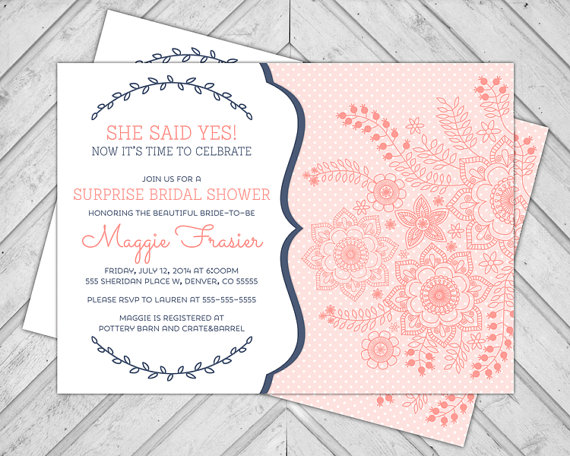 surprise bridal shower invitations coral and navy wedding shower invite polkadots diy printable file 606