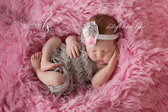 63307d931338 SET-Baby Girl Clothes-Newborn Clothing-Gray Lace Pettie Romper & Headband- Baby Headband-Flower Girl Dress-Baptism Dress-Wedding-Confirmation