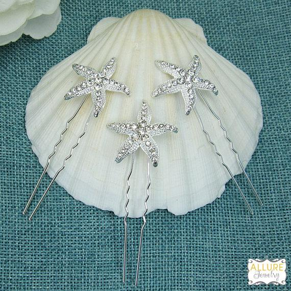 Mariage - Rhinestone Starfish WEDDING HAIR PIN (Set of 3), starfish hair accessories, starfish hairclip, bridal hairpins, beach wedding headpiece