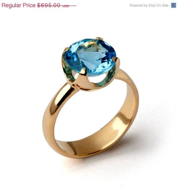 زفاف - ON SALE - CUP Blue Topaz Engagement Ring, 14k Gold Blue Topaz Ring, Swiss Blue Topaz Ring, Statement Ring