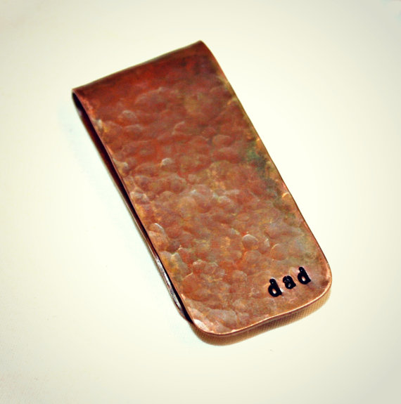 Свадьба - Money Clip-Hammered Handstamped Copper-Groomsmen, Anniversary, Birthdays, Wedding Party-Fathers Day, Father of the Bride