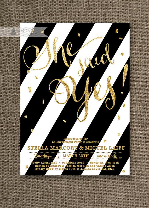 gold glitter engagement party invitation black white stripes, Birthday invitations