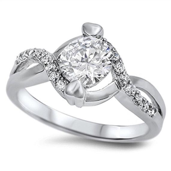 زفاف - 1.50 Carat Round Clear Brilliant Cubic Zirconia Solid 925 Sterling Silver Solitaire Crisscross Infinity Band Wedding Engagement Promise Ring