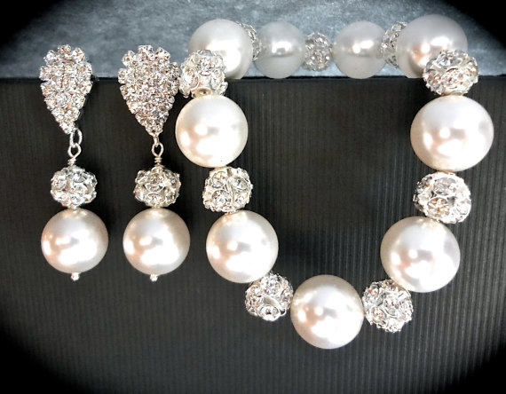 Pearl Bracelet And Earring Set Chunky Crystal Rhinestones Elegant Brides Bridal Jewelry Bridesmaids Best Er