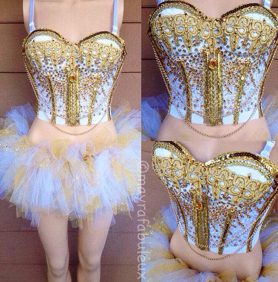 Hochzeit - Golden Goddess Full Rave Outfit - Mayrafabuleux Original Design