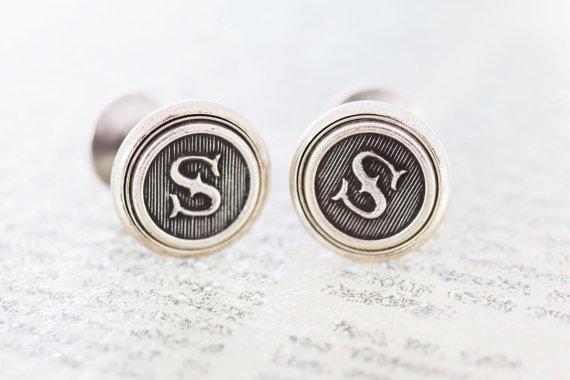 زفاف - Custom Initial Cufflinks, Letter Cufflinks, Wedding Cufflinks, Groomsmens Gifts, Made to Order - Antiqued Silver