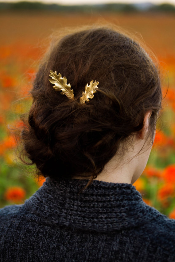 زفاف - Luxe Gold Oak Leaf Bobby Pins Woodland Oak Leaf Hair Pin Fall/ Autumn Wedding Hair Accessories