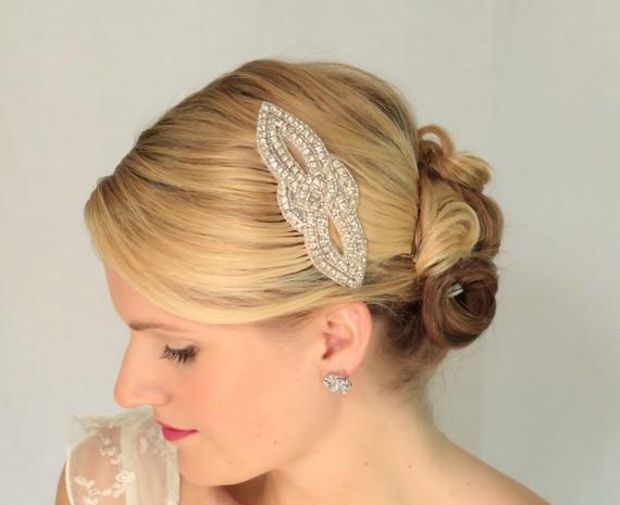 Hochzeit - Nora Vintage Inspired rhinestone bridal hair comb,wedding hair comb,wedding hair accessories, bridal comb,crystal wedding comb