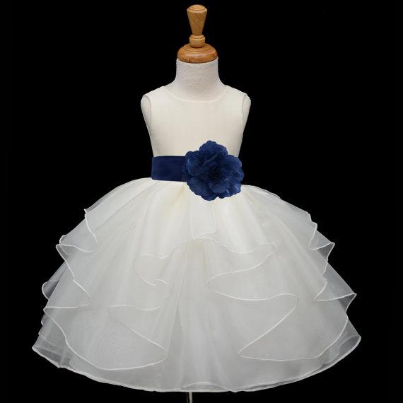 زفاف - Ivory Flower Girl dress tie sash pageant wedding bridal recital children tulle bridesmaid toddler 37 sash sizes 12-18m 2 4 6 8 10 12