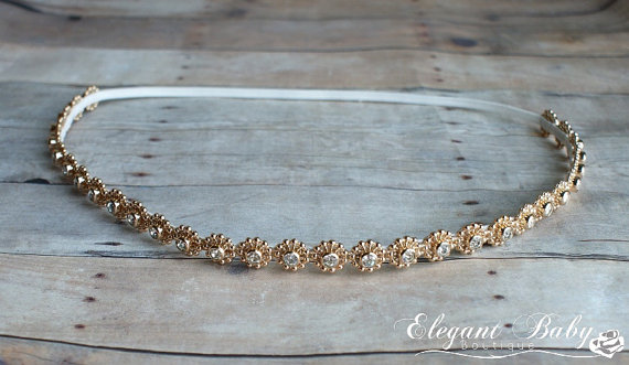 Mariage - Gold Rhinestone Halo Headband, Prom Headband, Wedding Headband