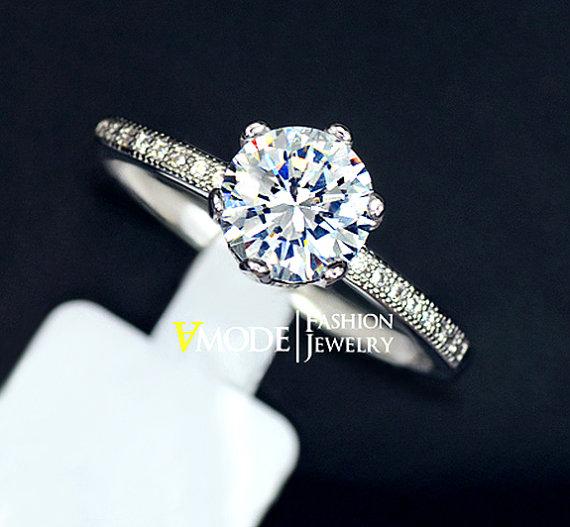 زفاف - Engagement Ring 1.25 Carat Round Cut Cubic Zirconia Side Micro Pave White Gold Diamond Bridal Ring Wedding Ring Gift, AJR0121B