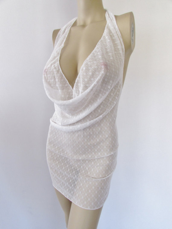 زفاف - Sheer stretch White Lace Dress Drape Cowl Clubwear SeXy Cruise Wear Dance Lingerie