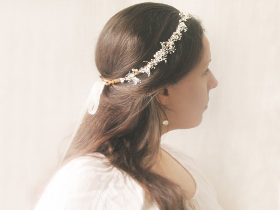 Baby S Breath Flower Crown Rustic Wedding Hair