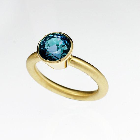 Свадьба - London blue topaz engagement ring, yellow gold, solitaire, teal engagement, modern, bezel ring, topaz wedding, contemporary, blue topaz