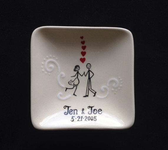 Engagement Wedding Gift Personalized Hand Painted Ceramic Ring