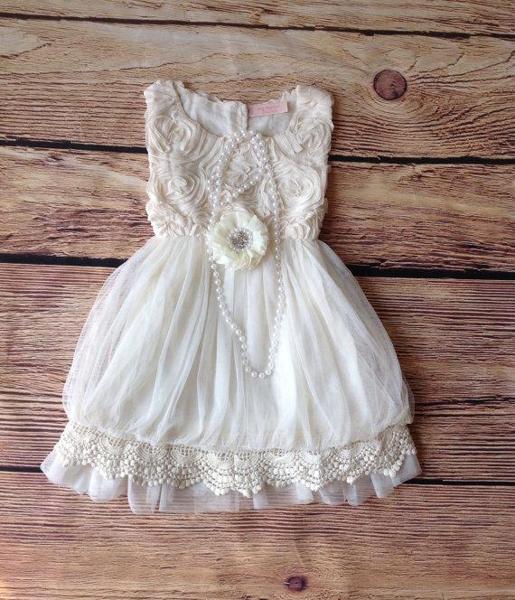 Ivory Toddler Girls Dress- Vintage Toddler Girls Dress- Ivory ...