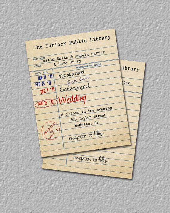 library card invitation library wedding invitation library baby shower invitation save the date invite