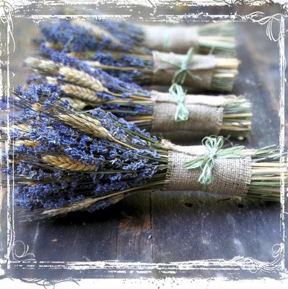 Mariage - Wheat And Lavender Hand Tied Bouquet - Dried Flower - Herb Herbal Aromatherapy - Purple Neutral Burlap - Weddings - Bridesmaids - European