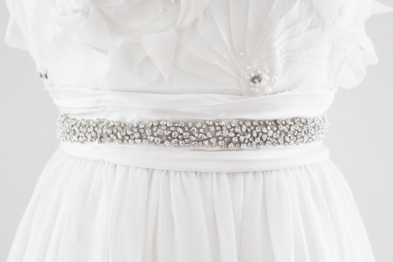 Wedding - CHLOE - Scattered Rhinestone Beaded Bridal Sash, Wedding Belt