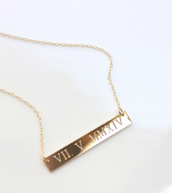 personalized necklace bar rectangle sterling silver engraved design jewelry date wedding roman numeral jc