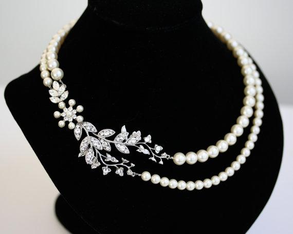 Mariage - Bridal Pearl Necklace Vine Leaf Necklace, swarovski Rhinestone statement Necklace Wedding Jewelry NEVE
