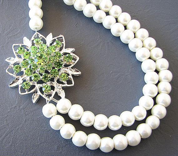 Wedding - Bridal Jewelry Rhinestone Necklace Wedding Jewelry Pearl Bridal Necklace Double Strand Green Crystal Necklace Bridesmaid Gift