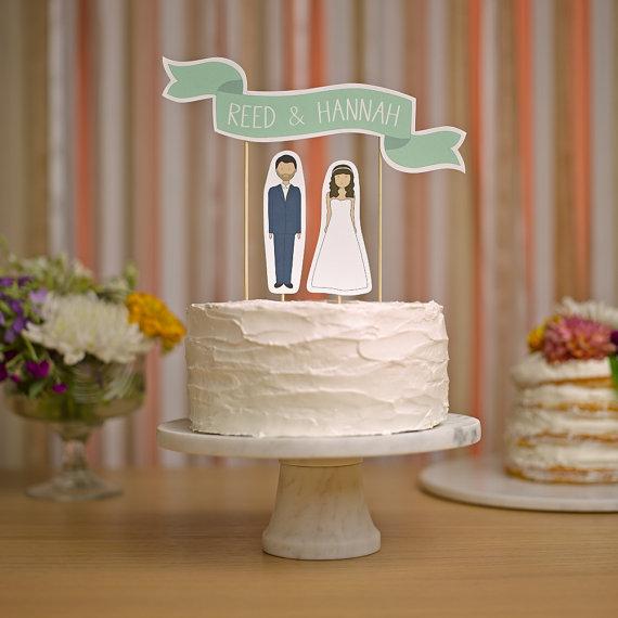 Свадьба - Wedding Cake Topper Set - Custom Cake Banner No. 2 / Bride and/or Groom Cake Toppers